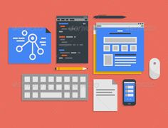 Programming and Web Development Illustration by Bloomicon Flat design vector illustration icons set of modern office workflow for web interface programming and mobile development process i