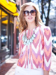 pink ikat blouse with a robin's egg blue necklace (and huge sunglasses)! Batik Fashion, Hijab Fashion, Blazers For Women, Jackets For Women, Clothes For Women, Classic Outfits, Casual Outfits, Female Blazer, Designer Punjabi Suits
