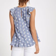 Light blue broderie frill sleeveless top