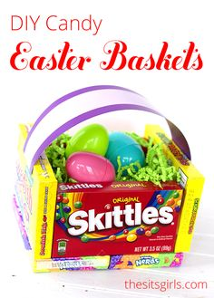 This cute DIY candy Easter basket makes a cute gift for less than $10.