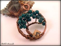Teal Blue Wire Wrapped Tree of Life Pendant by WildWirecraft