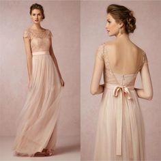 2015 Vintage Spitze Brautjungfer Kleider Erröten Rosa Günstige Backless High Neck Mutter der Braut Formales Kleid mit Bogen Gürtel