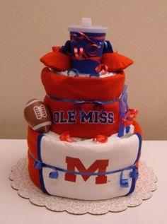 Ole Miss diaper cake!