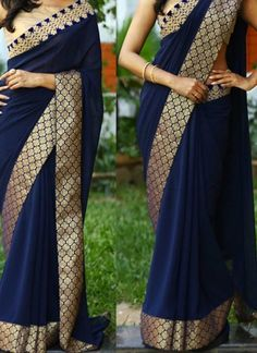 Navy Blue Embroidery Work Georgette Designer Party Wear Sarees http://www.angelnx.com/Sarees/Designer-Sarees