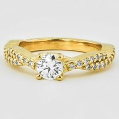 18K Yellow Gold Twisted Vine Diamond Ring (1/4 CT. TW.) - Set with a 0.30 Carat, Round, Super Ideal Cut, G Color, VVS1 Clarity Diamond #BrilliantEarth