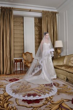Wedding Veil - Cathedral Drop Two-Tier Spanish Mantilla with French Alencon Lace. $390.00, via Etsy.