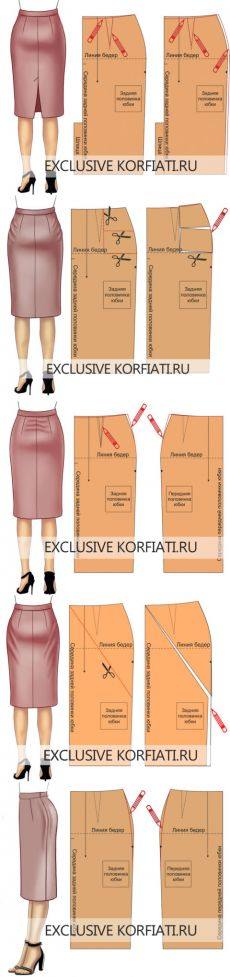 The best DIY projects & DIY ideas and tutorials: sewing, paper craft, DIY.ru fixing skirt fitting issues on the pattern -Read Techniques Couture, Sewing Techniques, Skirt Patterns Sewing, Clothing Patterns, Pattern Sewing, Pattern Skirt, Skirt Sewing, Coat Patterns, Blouse Patterns