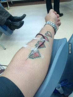 Whenever I give blood I find my tattoo highly amusing.