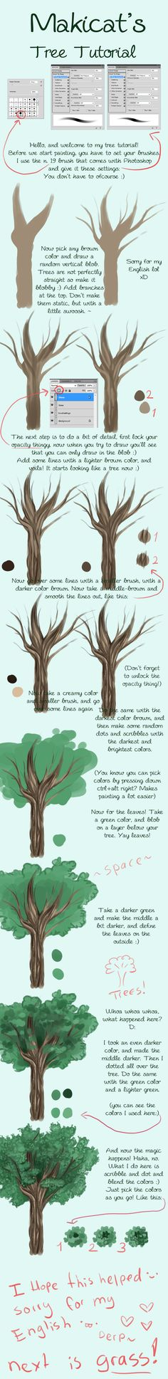 How to draw trees! don't know if I'll ever try this but it looked interesting enough to save.