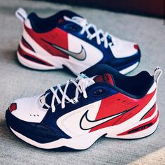 Nike Monarch x Tommy Hilfiger ☆ At the height of the Monarch craze started up by I customized a 'what if?' collab between Nike and Tommy Hilfiger. This was the end result. Happy Memorial Day to all those who served and who continue to serve today 🇺🇲 Custom Sneakers, Custom Shoes, Vans Sneakers, Air Max Sneakers, Nike Air Monarch, Dad Shoes, Sneaker Art, Happy Memorial Day, Behind The Scenes