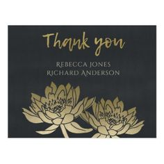 GLAMOROUS GOLD BLUE BLACK LOTUS FLORAL THANK YOU POSTCARD - romantic wedding gifts wedding anniversary marriage party