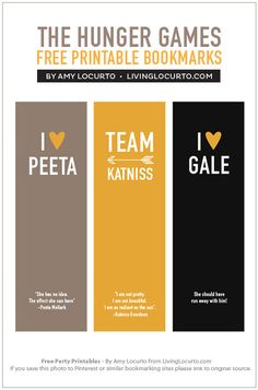 Hunger Games printable bookmarks.