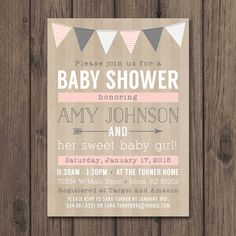 RUSTIC BABY SHOWER Invitation - Baby Girl Shower Invitation - Pink and Gray - Rustic Chic by kimberlyjdesign on Etsy https://www.etsy.com/listing/223021908/rustic-baby-shower-invitation-baby-girl