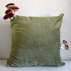 Add a little fungus to your life with these unique handmade cushions featuring some mushrooms growing out of them by Helsinki based designer Suvi-Tuuli Junttila. Green Pillows, Throw Pillows, Owl Pillows, Burlap Pillows, Decorative Pillows, Diy And Crafts, Arts And Crafts, Stoff Design, Handmade Cushions