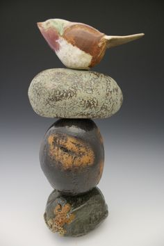 Rock and Bird Totem:  I have the rocks and I have a little ceramic bird.  I can do this.