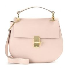 Chloé Drew Leather Shoulder Bag ($1,790) ❤ liked on Polyvore featuring bags, handbags, shoulder bags, borse, pink, chloe shoulder bag, real leather handbags, pink purse, chloe handbags and pink leather purse
