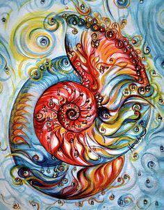 Nautilus Shell Painting - Nautilus Shell - Ornate by Harsh Malik