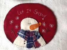 SNOWMAN wool penny rug candle mat handstitched very cute !!!!
