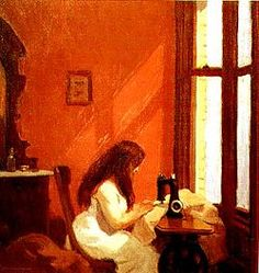 Edward Hopper (July 22, 1882 – May 15, 1967) was a prominent American realist painter and printmaker.  ~ Girl at Sewing Machine   (oil on canvas (1921)   Thyssen-Bornemisza Museum, 48 cm × 46 cm (19 in × 18 in))
