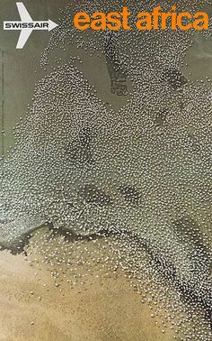 Swissair  Travel Poster East Africa Lake Hannington Keyna 1971
