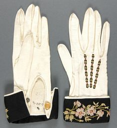 Early 20th c. Belle Epoque-Edwardian Gloves. Medium:White kid, black silk faille, multicolored embroidery