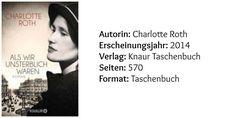 Als wir unsterblich waren von Charlotte Roth (c) Knaur Taschenbuch  Ein bewegendes und spannendes Buch. Charlotte Roth schafft es nach leichtem holpern am Anfang des Buches, eine ergreifende Geschichte zu erzählen von einer starken Persönlichkeit, Paula, die ein einzigartiger Charakter war. Das Buch ist die perfekte Mischung aus historischen Fakten, deutscher Geschichte und dem wahren Leben, in dem sich die Leute an Liebe und Hoffnung klammern um in diesem Elend überleben zu können.