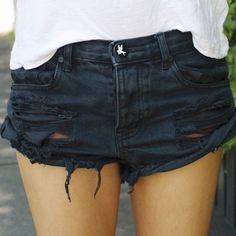Schwarz Ebene Taschen Hohles-heraus Mid-Anstieg Strassenmode Baumwolle Short Jeans