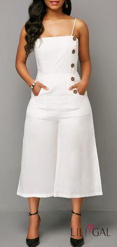 Button Detail Spaghetti Strap Side Slit Jumpsuit   #liligal #jumpsuits #womenswear #womensfashion