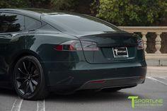 Green Tesla Model S with Carbon Fiber Trunk Wing Spoiler by T Sportline