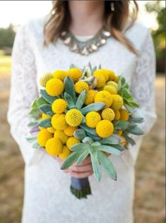 Top Wedding Ideas - rustic wedding bouquet with yellow billy balls and succulents Wedding Flower Guide, Yellow Wedding Flowers, Flower Bouquet Wedding, Wedding Colors, Wedding Ideas, Billy Balls, Bouquet Succulent, Dried Flower Bouquet, Dried Flowers