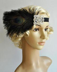 Black Flapper Feather HeadbandThe Great Gatsby by BlueSkyHorizons