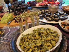 Halloween Food, Pesto Tortellini.  Stick some plastic spiders in the bowl.
