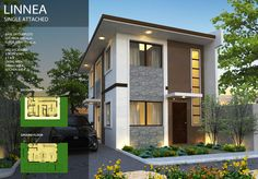 Affordable Homes Rizal Ph Contact: Linnea Model- 100 sqm Single Attached house and Lot in Santorini Estates Two Storey House Plans, 2 Storey House Design, New House Plans, Sims 4 Modern House, Modern House Plans, Modern Houses, Tiny Houses, Simple House Design, Modern House Design
