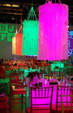 Lit white sheer ribbon chandeliers really illuminate well!