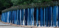 """第27回国民文化祭・とくしま2012 阿波藍×未来形プロジェクト 阿波藍アートプログラム I am 藍,We are 藍. AWA-AI Art Program """"I am AI,We are AI"""" Textile Museum, Textile Art, Tokushima, Textiles, Amai, Art Programs, Spring Green, Land Art, Elementary Art"""