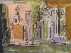 John Piper 'Blenheim Gates' David Whitehead fabric c.1955