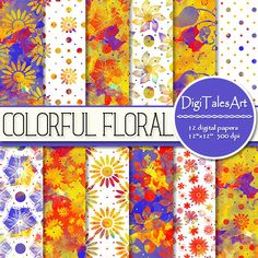 """Flower watercolor digital paper pack """"Colorful Floral"""" in red, blue, yellow and white.  Perfect for scrapbooking, making cards, invitations, collages, crafts, web graphics, and so much more. Digital paper pack by DigiTalesArt."""