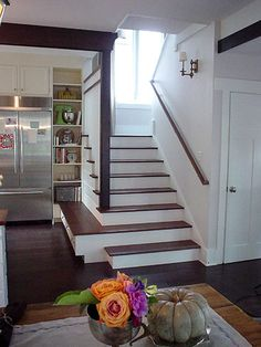 Michaela Mahady and Deb Kees' cottage living idea home, Evanston, Illinois . storage on bottom stair House Design, House, Home, Craftsman Bungalows, House Plans, New Homes, Kitchen Storage Bench, House Interior, Cottage Living