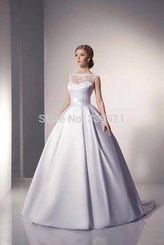 2016 Nuevo Elegante Blanco Marfil Satinado vestido de Novia Vestidos de novia…