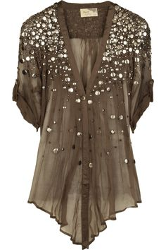Silk-chiffon sequined top