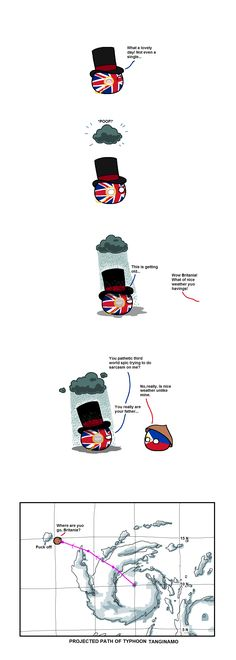 """""""Frustrating Weather"""" ( UK, Philippines ) by taongkalye – WorldBall Poland Country, Country Art, Funny Art, Funny Memes, Hilarious, Funny Tweets, Hetalia Philippines, Uk Weather, Good Jokes"""