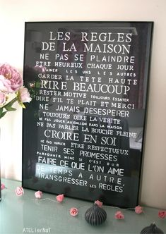 Tableau déco 'Les règles de la maison' # DIY E Mc2, Creation Deco, Diy Canvas, Decoration, Diy And Crafts, Sweet Home, Diy Projects, House Design, House Styles