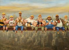 Funny illustration Art by Bobby Chiu - construction workers having lunch in air Art wallpaper 3 Art And Illustration, Cartoon Illustrations, Weekender, Labor Day Clip Art, Lunch Atop A Skyscraper, Labour Day Wishes, Labor Day Pictures, Construction Wallpaper, Valentines Day Wishes