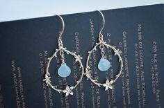 Gold Cherry Blossom Ring Blue Chalcedony Earrings