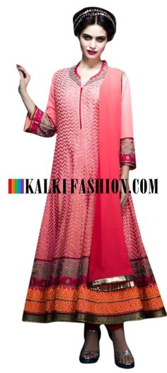 Buy Online from the link below. We ship worldwide (Free Shipping over US$100) http://www.kalkifashion.com/unstitched-suit-in-pink-with-gotta-patti-and-resham-work-8103.html Unstitched suit in pink with gotta patti and resham work