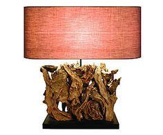 Lampada da tavolo in legno Michelle marrone - 50x55 cm