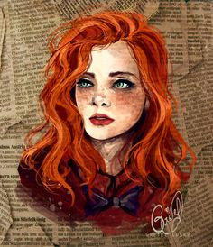 ginger girl drawing - Google Search