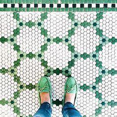 Hex tile patterns at little green notebook Hex Tile, Penny Tile, Hexagon Tiles, Hexagon Quilt, Tiling, Hexagon Pattern, Quilt Pattern, Floor Patterns, Tile Patterns