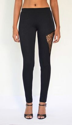 """Lacy Panel Leggings"" Cotton & Lycra – Ankle Length. Buy Now : https://www.estrolo.com/product-category/women/leggings/ #Leggings #BlackLeggings #Designerleggings #EstroloFashion"