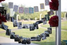 family photo displays :  wedding clothespins diy family photos photo display reception red teal  259